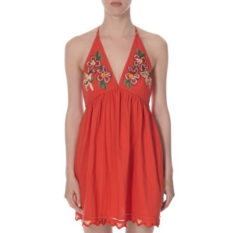 Free People Orange Love And Flowers Dress