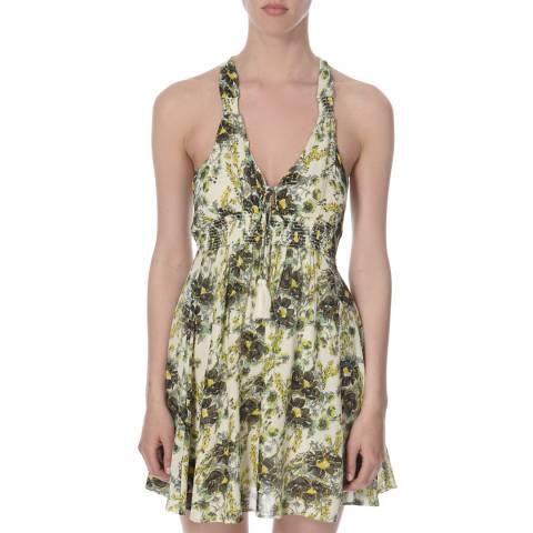 Free People Green/Yellow/White Washed Ashore Mini Dress
