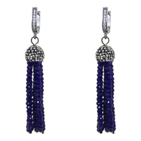 Alexa by Liv Oliver Silver Blue Onyx cz Tassel Earrings