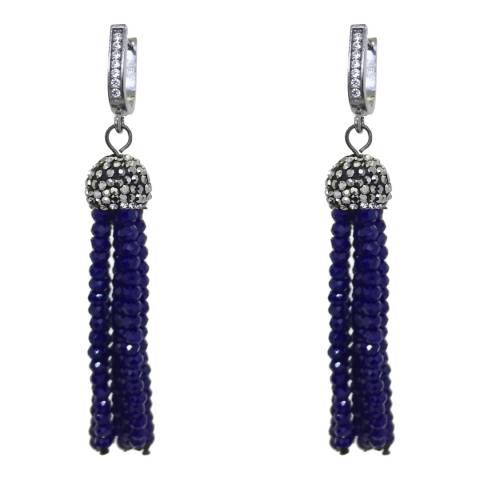 Liv Oliver Blue Onyx Zirocnia Tassel Earrings