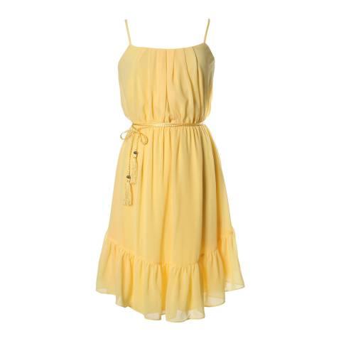 Marchesa Rose Yellow Ruffle Skirt Strappy Dress