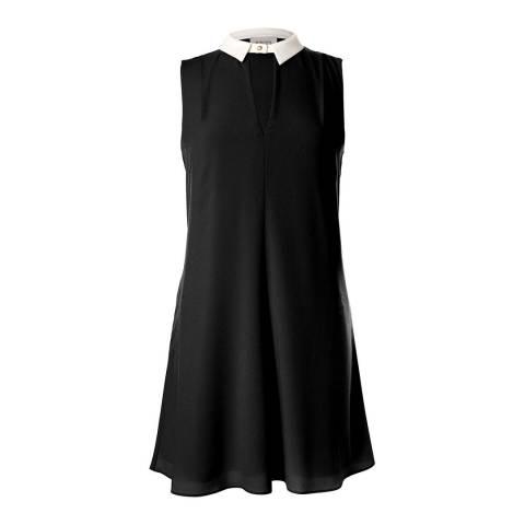 Marchesa Rose Black Sleeveless Contrast Collar Swing Dress