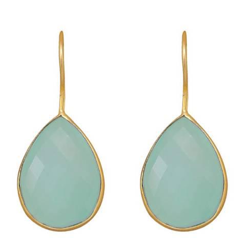 Liv Oliver Sea Green Chalcedony Pear Drop Earrings
