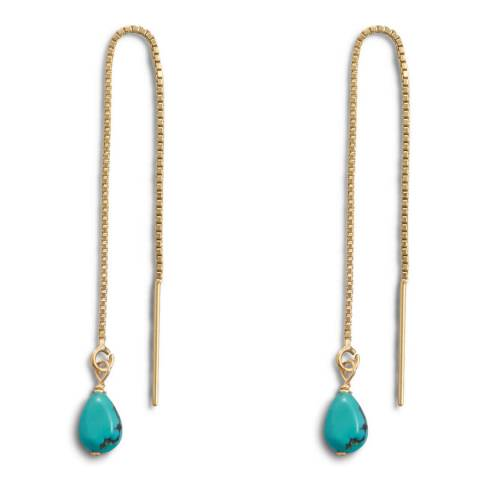 Liv Oliver Gold/Turquoise Drop Threader Earrings