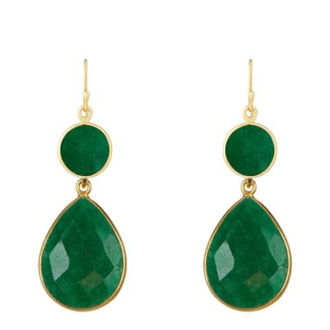 Liv Oliver Gold Emerald Drop Earrings