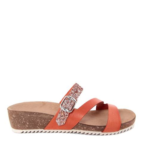 Miss Butterfly Orange Leather And Glitter Cross Strap Slide