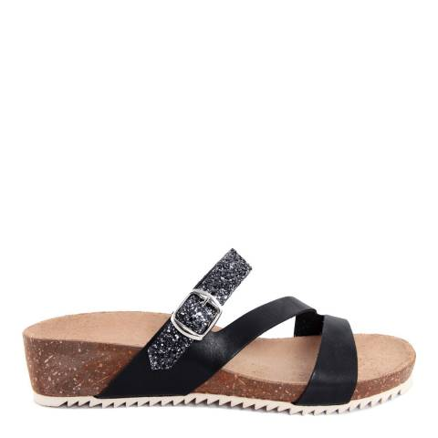 Miss Butterfly Black Leather And Glitter Cross Strap Slide