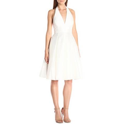 Halston Heritage Chalk Luxe Texture Jacquard Dress