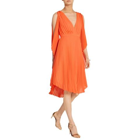 Halston Heritage Mandarin Cold Shoulder V Neck Pleated Dress