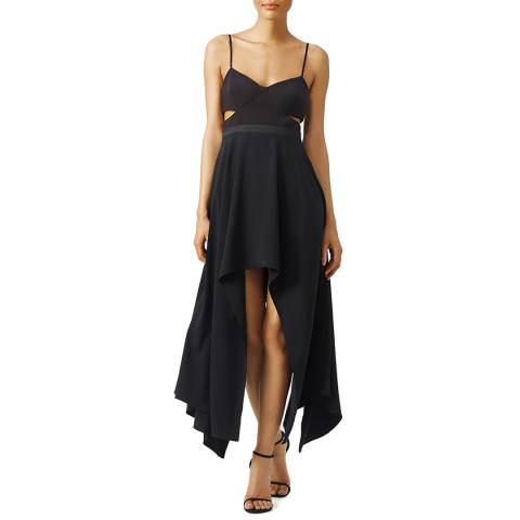 Halston Heritage Black Scoop Neck Hi Lo Crepe Cut Out Dress