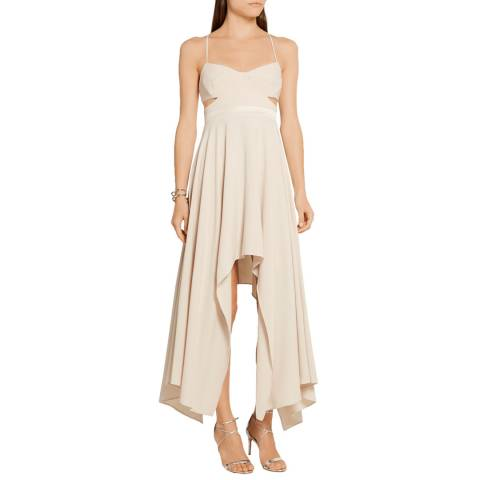 Halston Heritage Oyster Scoop Neck Hi Lo Crepe Cut Out Dress