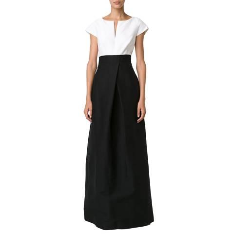 Halston Heritage Black/Chalk Structured Cotton/Silk Blend Gown