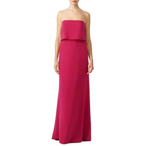 Halston Heritage Pink Cerise Strapless Tiered Top Slim Gown