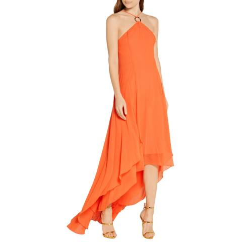 Halston Heritage Mandarin Halter Neck Open Back Georgette Gown