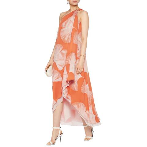 Halston Heritage Terracotta Botanical Print One Shoulder Drape Gown