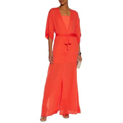 Halston Heritage Grenadine V Neck Wrap Kimono Gown