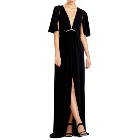 Halston Heritage Black Cape Sleeve Jersey Gown