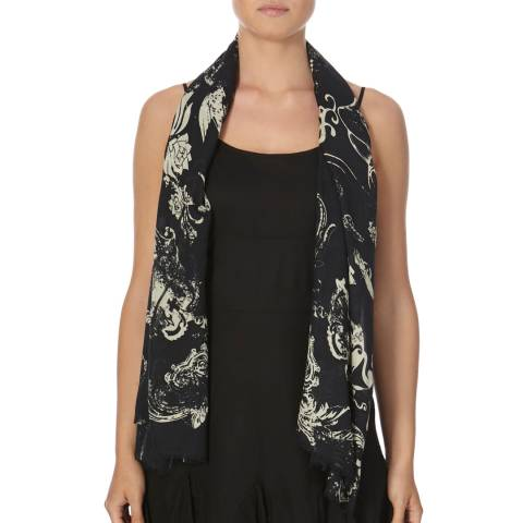 Bolongaro Trevor Black/Cream Silk Tattoo Scarf