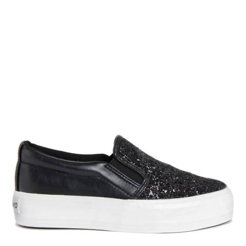 Onako Black Glitter Slip On Platform Sneakers