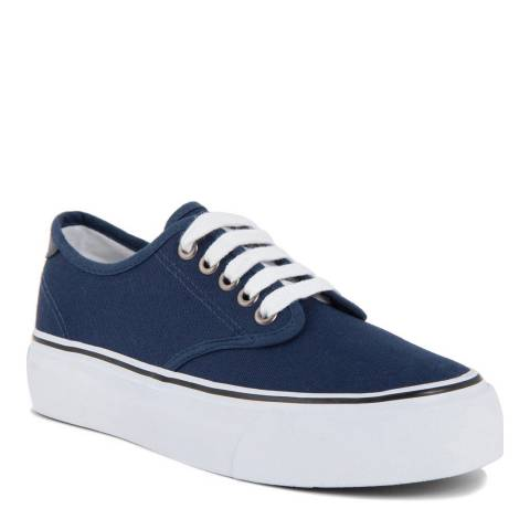 Onako Blue Canvas Lace Up Kira Platform Sneakers