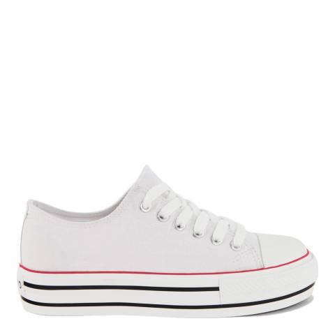 Onako White Canvas Lace Up Kira Platform Sneakers