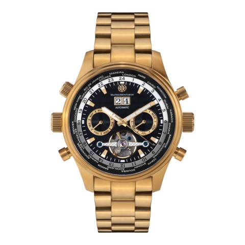 Mathis Montabon Men's Gold Stainless Steel Globe Trotter Watch