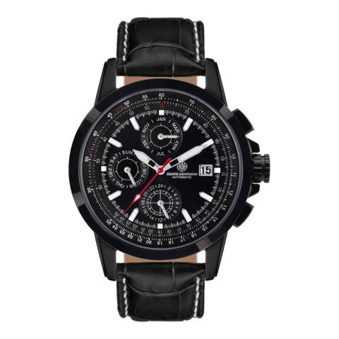 Mathis Montabon Men's Aerotime Black Leather Watch