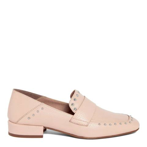 Gusto Pale Pink Leather Studded Penny Loafers