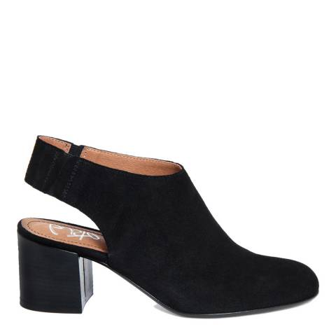 Gusto Black Suede Backless Ankle Boots