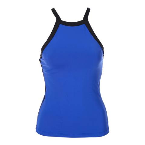 Seafolly Blue Block Party High Neck Tankini Top