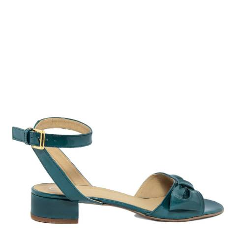 Eye Teal Blue Patent Leather Bow Front Sandals