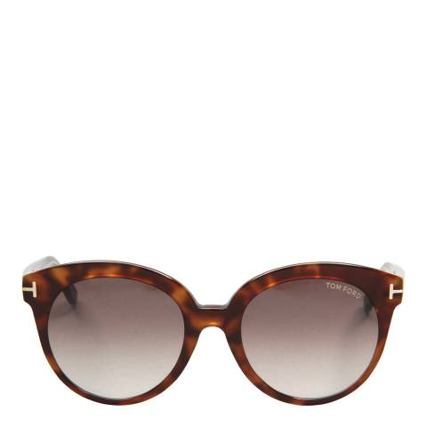 Tom Ford Women's Havana / Graduated Brown Sunglasses 54mm