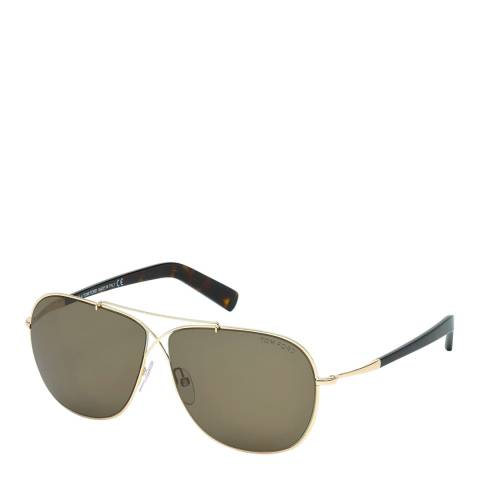 Tom Ford Women's Gold with Havana Arms / Brown Sunglasses 61mm