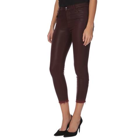 J Brand Burgundy Coated Alana High Rise Skinny Fit Cropped Jeans