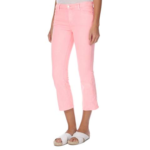 J Brand Pink Selena Mid Rise Boot Cut Cropped Stretch Jeans