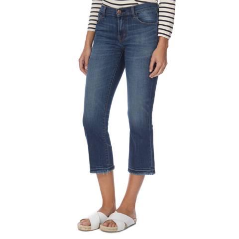 J Brand Dark Blue Selena Mid Rise Boot Cut Cropped Stretch Jeans