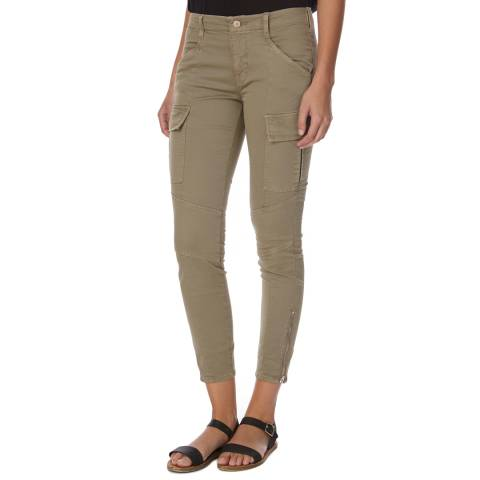 J Brand Green Houlihan Mid Rise Skinny Fit Cotton Blend Cargo Trousers