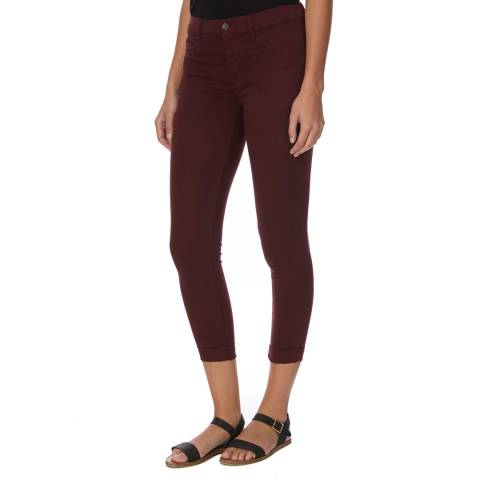 J Brand Burgundy Anja Mid Rise Cuffed Crop Jeans