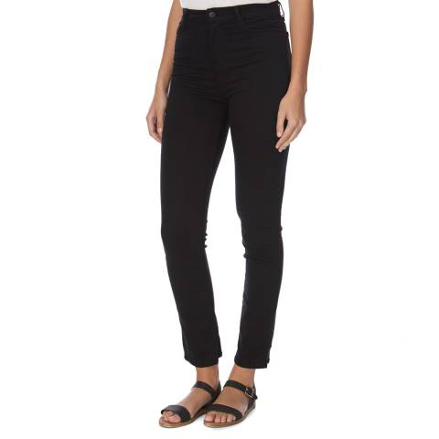 J Brand Black Maria High Rise Straight Fit Stretch Jeans