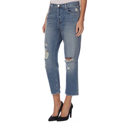 J Brand Blue Ivy High Rise Straight Fit Cropped Jeans