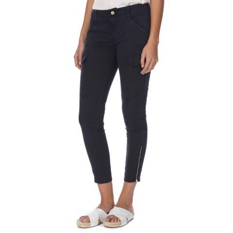 J Brand Navy Houlihan Mid Rise Cotton Cargo Trousers