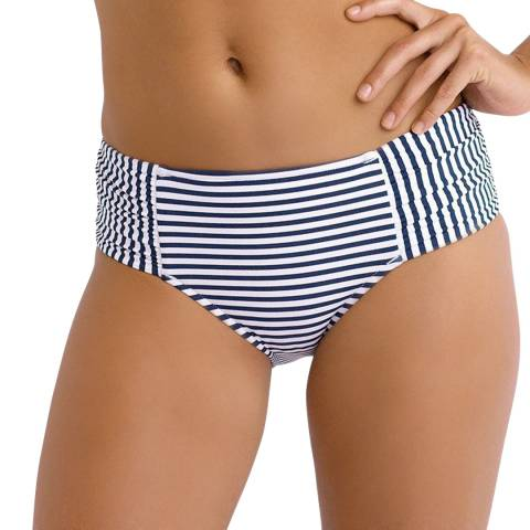 Seafolly Navy/White Riviera Stripe Ruched Side Retro Bikini Briefs