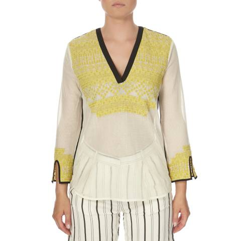 DAY Birger Et Mikkelsen Yellow and White Cotton Passing Shirt