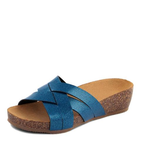 f0c03346e14e Summery Royal Blue Glitter Cross Front Footbed Sandals. prev