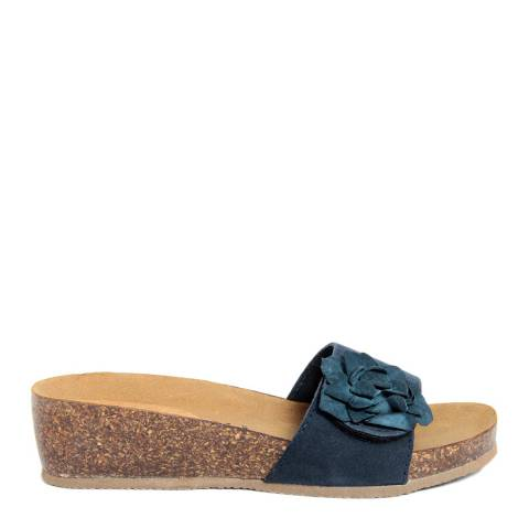 Summery Blue Suede Floral Detail Footbed Sandals