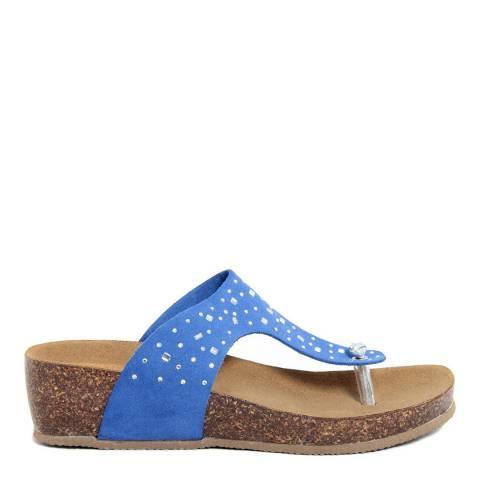 Summery Royal Blue Suede Rhinestone Footbed Sandals