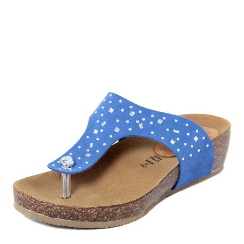c753ec8f2058 Summery Royal Blue Suede Rhinestone Footbed Sandals. prev