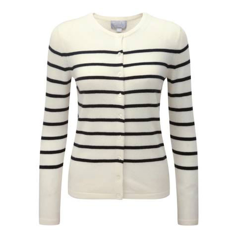 Pure Collection White/Black Cashmere Crew Neck Cardigan