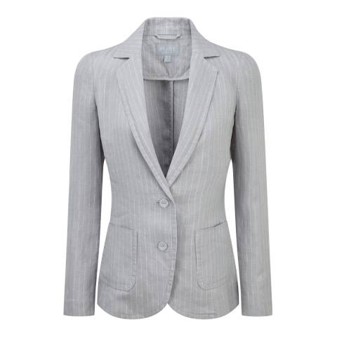 Pure Collection Grey Dawn/White Stripe Laundered Linen Jacket