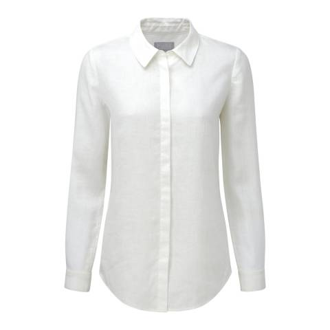Pure Collection White Laundered Linen Shirt